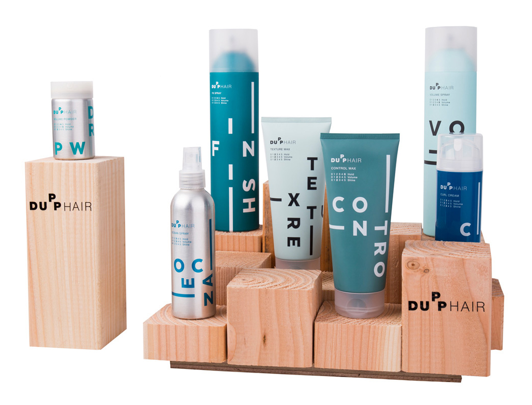 Dupp Hair Producten display